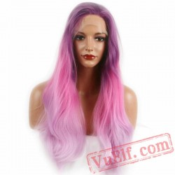 Dark Purple Pink Long Wave Wig Lace Front Women Wigs Lady
