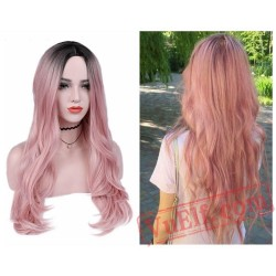 Long Pink Cosplay Wavy Black Wigs Black Women Wave Pink Wig