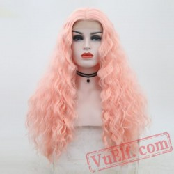 Deep Wave Pink Wig Natural Lace Front Wig Hair Wigs