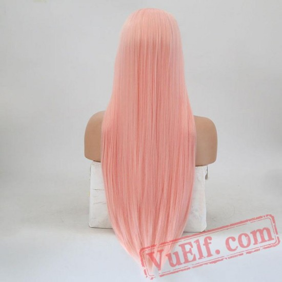 Pink Lace Front Wig Hair Natural Straight Wigs Women