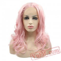 Pink Lace Front Wigs Cosplay Women Hair Short Bob Party Wig
