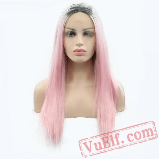 Pink Silky Straight Hair Lace Front Wigs Grey Roots Light Pink