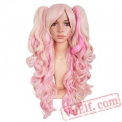 Long Wavy Cosplay Wig Purple Pink Wigs Women Hair