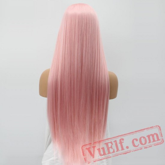 Natural Long Silky Straight Pink Lace Front Wig White Women