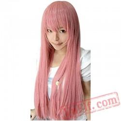 Pink Long Straight Wig Sakura Miku Luka Megurine Quartz Matryoshka Princess Bubblegum Moka Akashiya Cosplay Wig