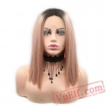 Red Dark Roots Mixed Pink Lace Front Wigs Pink Grey Blonde Wigs