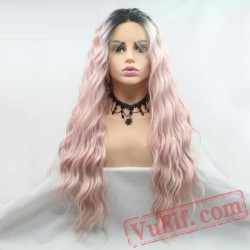 Long Loose Wave Pink Lace Front Wigs Women Hair Black Roots Wig