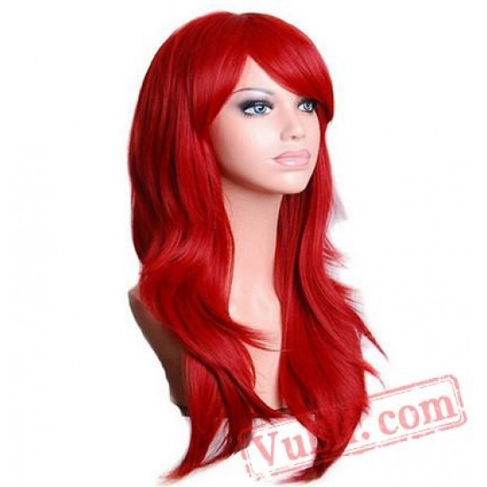 Long Wavy Cosplay Wig Red Green Puprle Pink Black Blue Sliver Gray Blonde Brown