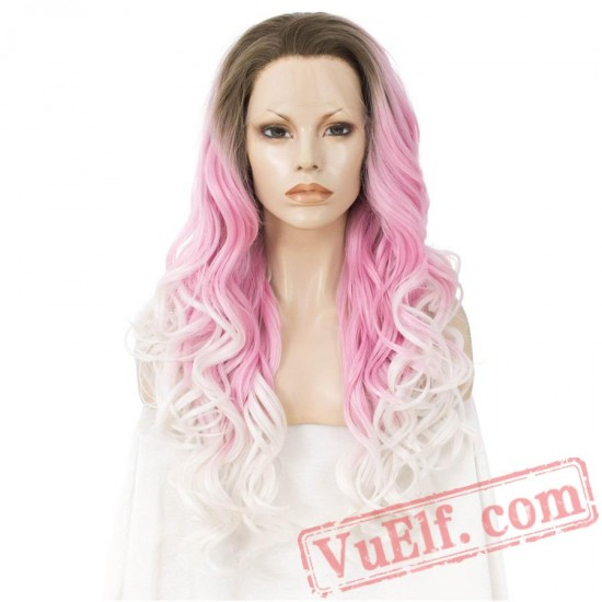Pink White Lace Front Wig Three Tone Wavy Wigs Women Cosplay Wig