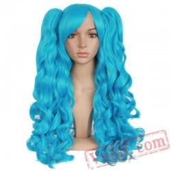 Long Wavy Cosplay Wigs Black Blonde Brown Blue Pink Hair