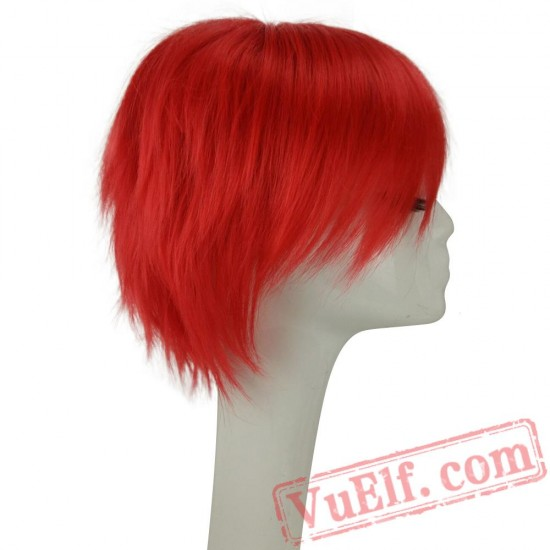 Pink Cosplay Wig Layered Short Straight Hair Wigs