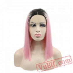 Dark Roots Pink Short Bob Wig Lace Front Wig Women Cosplay