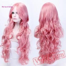 Long Wavy Halloween Wig Women Curly Wigs Party Wig Pink Blue