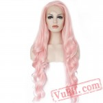 Long Wave Pink Grey Blonde Orange Lace Front Wig Women