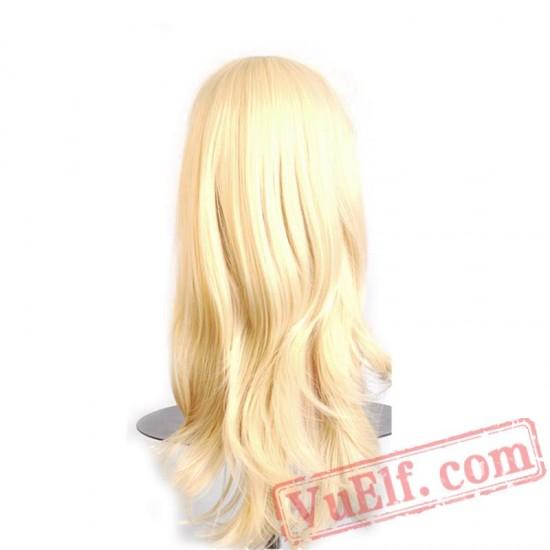 women hair long wavy wigs blonde pink red green brown purple black white blue