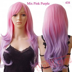 Cosplay Wig Long Curly Halloween Hair pink purple women wigs