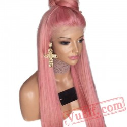 Natural Straight Lace Front Wig Pink Wig