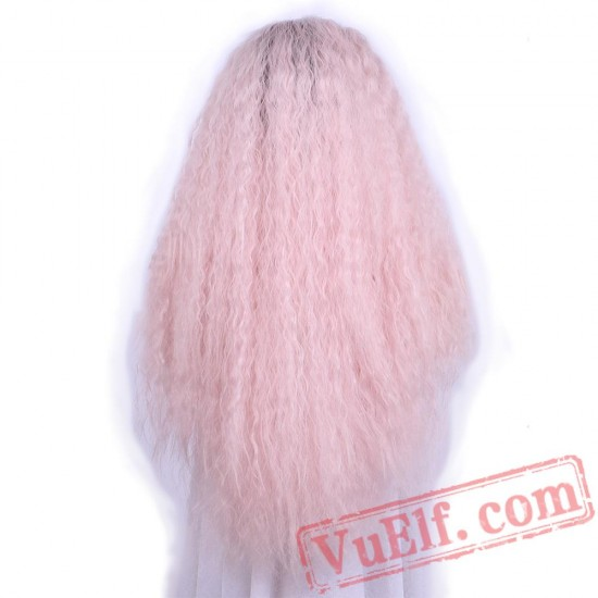 Pink Dark Roots Lace Front Wig Long Curly Wigs Women Party Halloween
