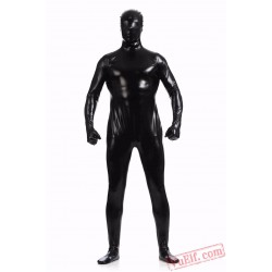 Black Shiny Metalic Mens Lycra Spandex BodySuit | Zentai Suit