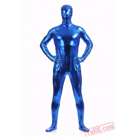 Blue Shiny Metalic Mens Lycra Spandex BodySuit | Zentai Suit