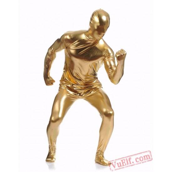 Gold Shiny Metalic Mens Lycra Spandex BodySuit | Zentai Suit