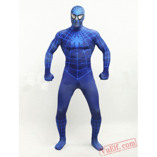 Deep Blue Spiderman Zentai Suit - Spandex BodySuit | Costumes