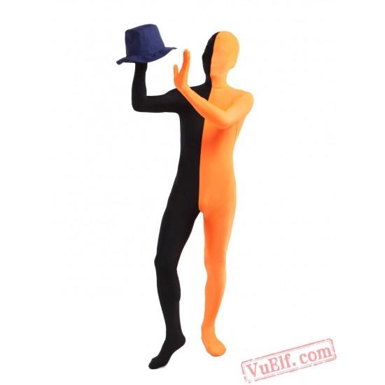 Black Orange Lycra Spandex BodySuit   Zentai Suit