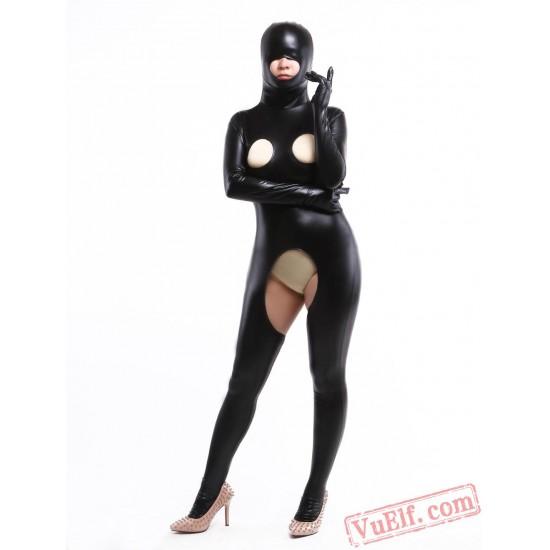 Black Mtallic Open Bust Lycra Spandex BodySuit | Zentai Suit