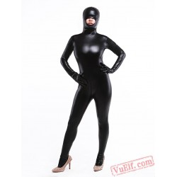 Black Metallic Open Hip Lycra Spandex BodySuit | Zentai Suit