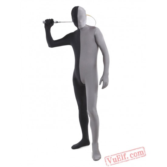 Black Grey Lycra Spandex BodySuit   Zentai Suit