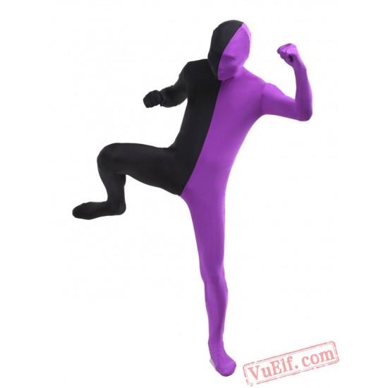 Black Purple Lycra Spandex BodySuit   Zentai Suit