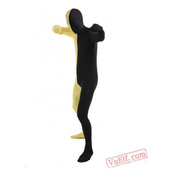 Black Yellow Lycra Spandex BodySuit | Zentai Suit