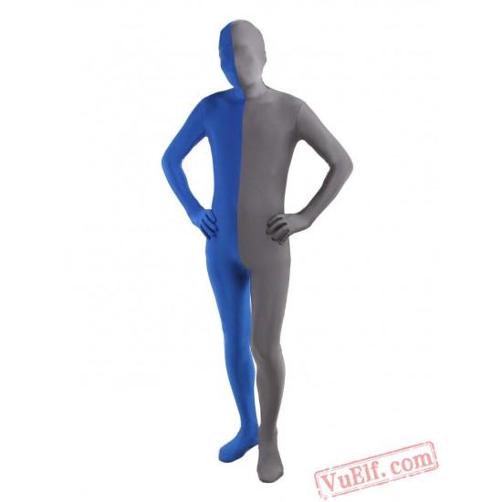 Blue Grey Lycra Spandex BodySuit   Zentai Suit