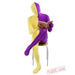 Purple Yellow Lycra Spandex BodySuit | Zentai Suit