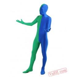 Green Blue Lycra Spandex BodySuit | Zentai Suit
