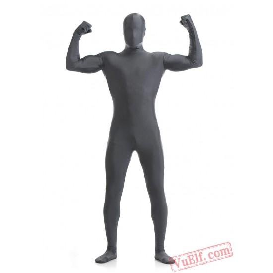 Funny Dark Gray Lycra Spandex BodySuit | Zentai Suit