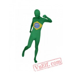 Brazil Flag Zentai Suit - Spandex BodySuit | Full Body Costumes