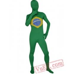 Brazil Flag Lycra Spandex BodySuit | Zentai Suit