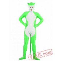 Spandex Green White Animal Zentai Suit - Full Body Costumes