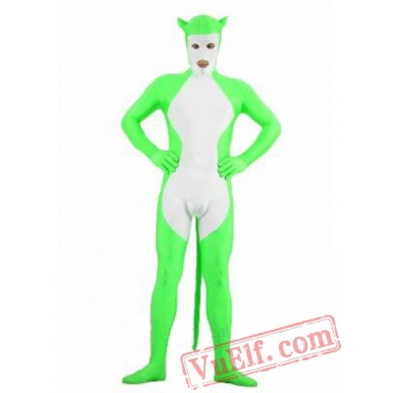 Spandex Green White Animal Zentai Suit - Full Body Costumes