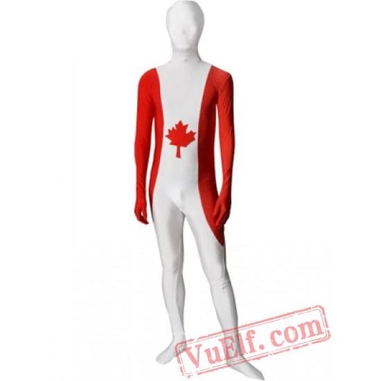 Canada Flag Zentai Suit - Spandex BodySuit | Full Body Costumes