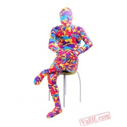 Funny Red Camouflage Lycra Spandex BodySuit | Zentai Suit