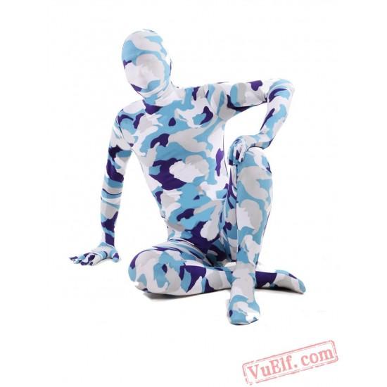 Blue White Camouflage Lycra Spandex BodySuit   Zentai Suit