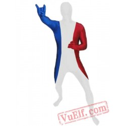 France Flag Zentai Suit - Spandex BodySuit | Full Body Costumes