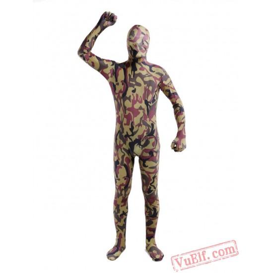 Hunter Green Camouflage Lycra Spandex BodySuit | Zentai Suit