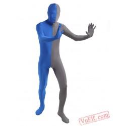 Blue Grey Lycra Spandex BodySuit | Zentai Suit